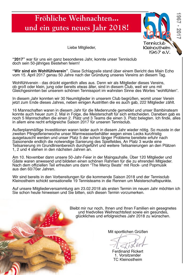 Brief an die Mitglieder